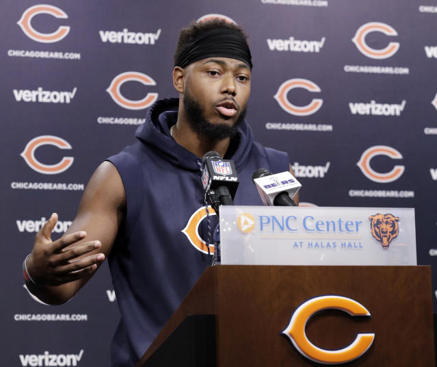 Chicago Bears defensive back Adrian Amos talks to reporters after the NFL football team's voluntary veteran minicamp Thursday, April 19, 2018, in Lake Forest, Ill. (AP Photo/Nam Y. Huh)