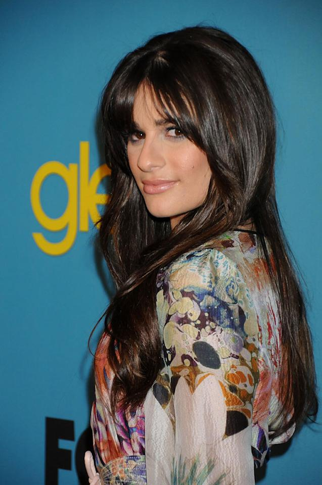 """<a href=""""/lea-michele/contributor/723097"""">Lea Michele</a> (""""Rachel Berry"""") arrives at Fox's <a href=""""/glee/show/44113"""">""""Glee""""</a> Spring Premiere Soiree at Chateau Marmont on April 12, 2010 in Los Angeles, California."""