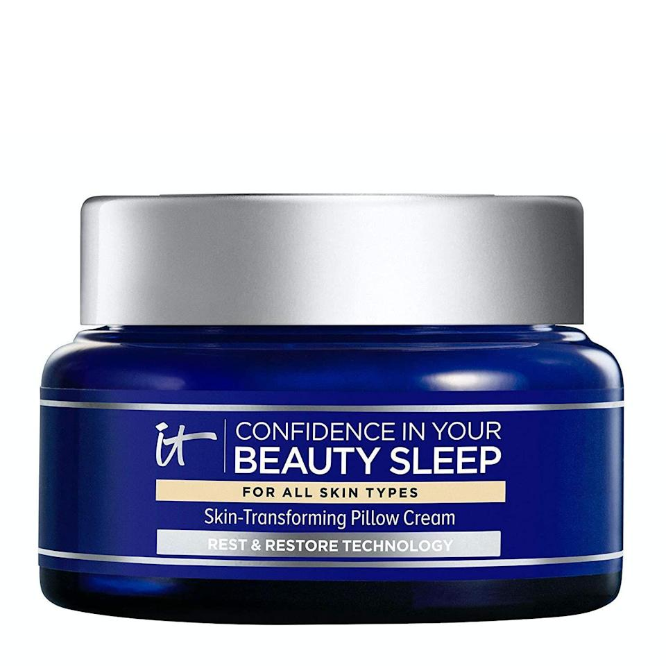 """<p><strong>it COSMETICS</strong></p><p>amazon.com</p><p><strong>$37.80</strong></p><p><a href=""""https://www.amazon.com/dp/B08BB68BT4?tag=syn-yahoo-20&ascsubtag=%5Bartid%7C10051.g.36816284%5Bsrc%7Cyahoo-us"""" rel=""""nofollow noopener"""" target=""""_blank"""" data-ylk=""""slk:Shop Now"""" class=""""link rapid-noclick-resp"""">Shop Now</a></p><p>With ceramides, hyaluronic acid and a beautifully calming scent, this moisturizer is too good to be true.</p>"""