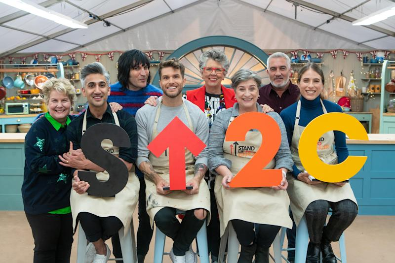 Tan France, Joel Dommett, Caroline Quentin and Johanna Konta were the latest celebrity contestants on 'The Great Stand Up To Cancer Bake Off'. (Channel 4/Mark Bourdillon)