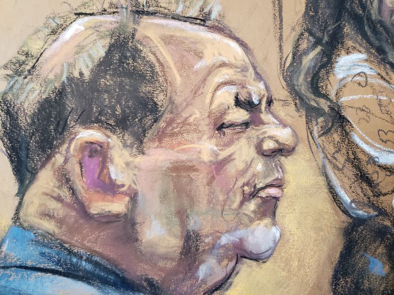 Film producer Harvey Weinstein sits during his sexual assault trial in the Manhattan borough of New York City