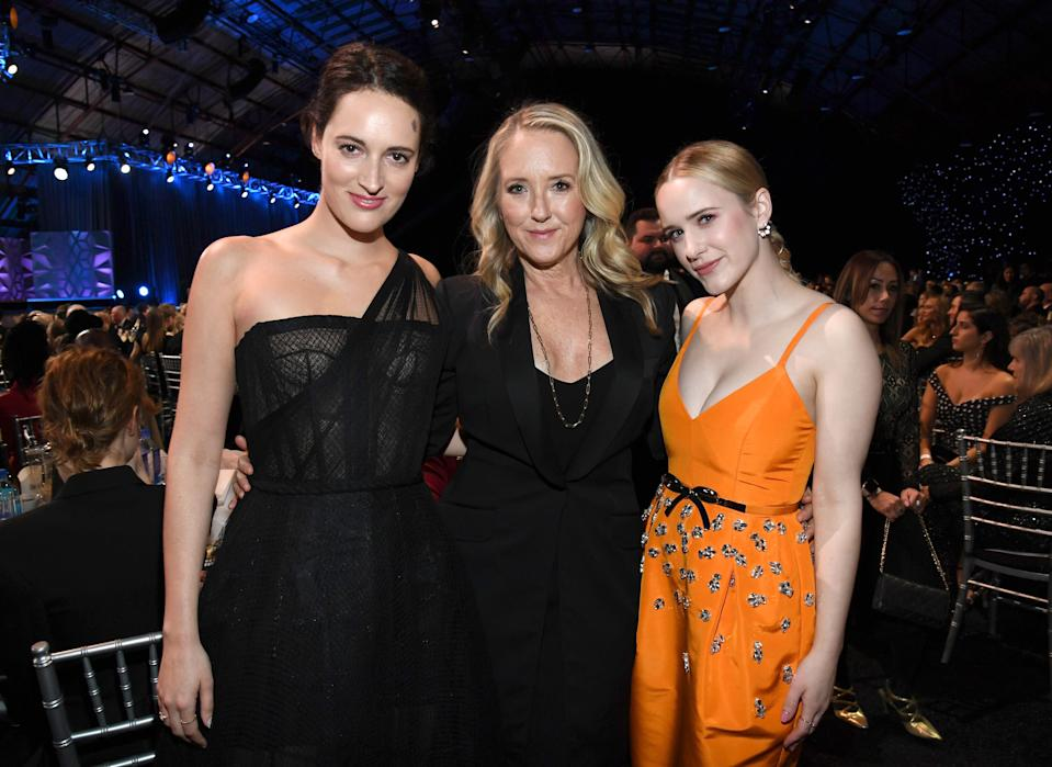 SANTA MONICA, CALIFORNIA - JANUARY 12: (L-R) Phoebe Waller-Bridge, Amazon's Jennifer Salke and Rachel Brosnahan attend the 25th Annual Critics' Choice Awards at Barker Hangar on January 12, 2020 in Santa Monica, California. (Photo by Kevin Mazur/Getty Images for Critics Choice Association)