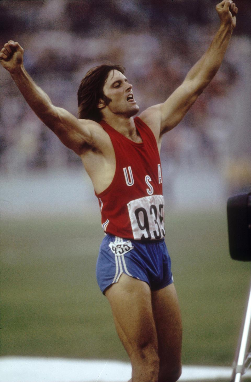Jul 1976:  Bruce Jenner of the USA celebrates during his record setting performance in the decathlon in the 1976 Summer Olympics in Montreal, Canada.  Mandatory Credit:  Tony Duffy/Allsport