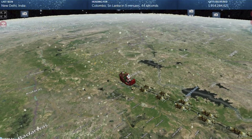 This photo provided by The North American Aerospace Defense Command (NORAD) shows the Santa Tracker on Thursday, Dec. 24, 2020. This is the 65th year for the U.S.-Canadian operation that has tracked the jolly old man since a child mistakenly called the base asking to speak to Santa. (NORAD via AP)