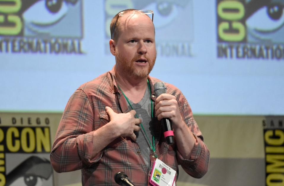 """Joss Whedon speaks at the """"Dark Horse: An Afternoon with Joss Whedon"""" panel on day 3 of Comic-Con International on Saturday, July 11, 2015, in San Diego, Calif. (Photo by Chris Pizzello/Invision/AP)"""