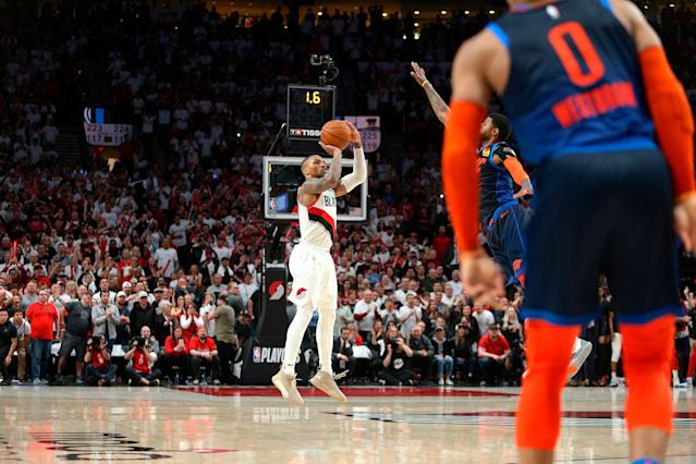 Damian Lillard thinks Paul George should have played better defense on this shot. (Sean Meagher/The Oregonian via AP)