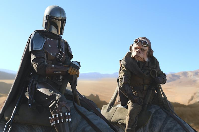 The Mandalorian (Pedro Pascal) and Kuiil (Nick Nolte) go on a mission in the second episode of the Disney+ 'Star Wars' series (Photo: Lucasfilm Ltd.)