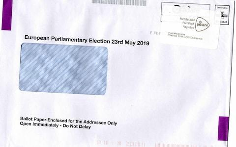 The envelope containing Ms Allen's delayed ballot paper showed it came via the Netherlands - Credit: Joy Elise Allen