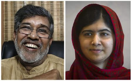 Combination picture of this year's Nobel Peace Prize winners, Indian children's right activist Kailash Satyarthi (L) at his office in New Delhi October 10, 2014, and Pakistani schoolgirl activist Malala Yousafzai at the United Nations in the Manhattan borough of New York in a file picture taken August 18, 2014. REUTERS/Adnan Abidi/Carlo Allegri
