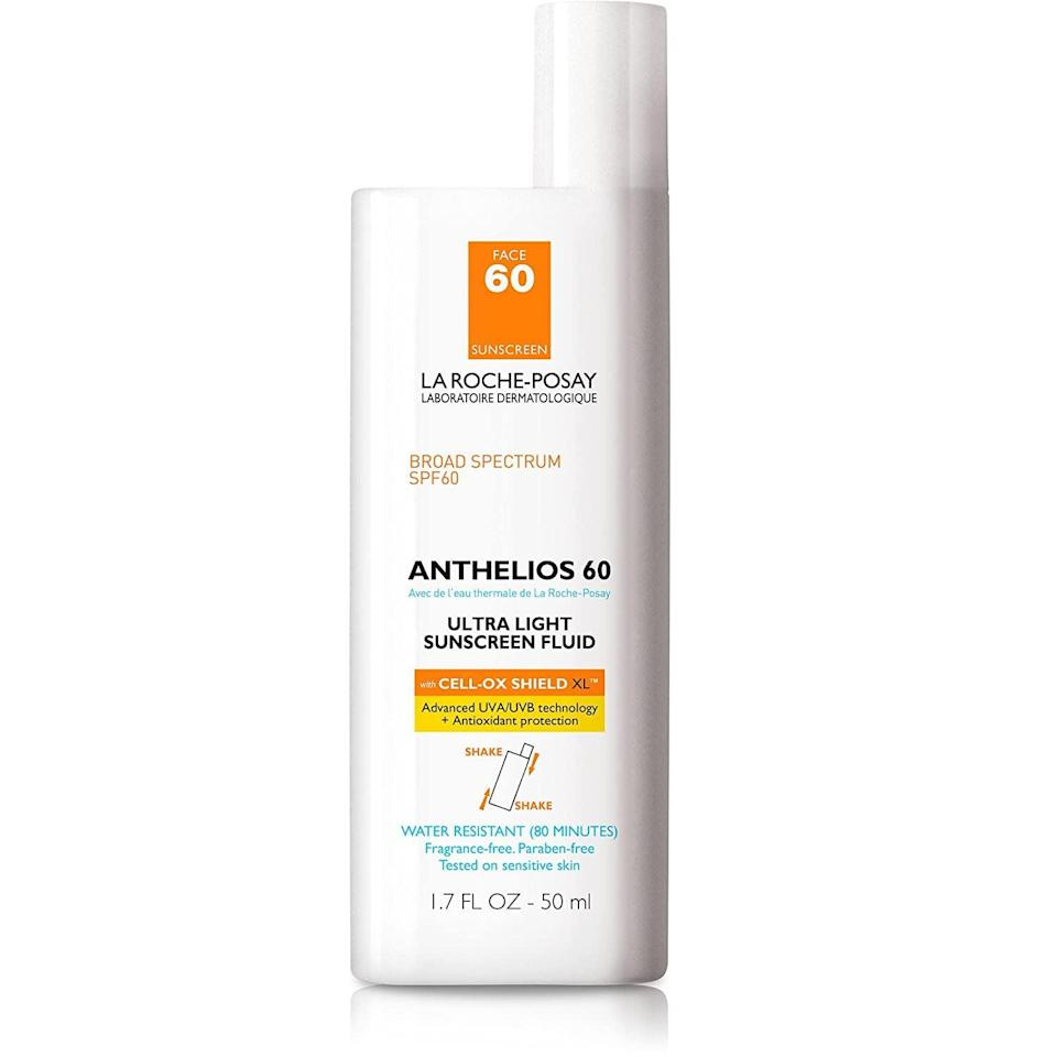 """<p>""""Drugstore brand La Roche Posay has some of the most efficacious sunscreens in the game, and they have something for just about everyone. For me, I lean heavily toward the so-light-you-can-barely-feel-it formulas, and you can't get much better than the brand's <a href=""""https://www.popsugar.com/buy/Anthelios-Ultra-Light-Face-Sunscreen-SPF-60-585485?p_name=Anthelios%20Ultra%20Light%20Face%20Sunscreen%20SPF%2060&retailer=amazon.com&pid=585485&price=30&evar1=bella%3Aus&evar9=47580543&evar98=https%3A%2F%2Fwww.popsugar.com%2Fphoto-gallery%2F47580543%2Fimage%2F47581043%2FAnthelios-Ultra-Light-Face-Sunscreen-SPF-60&list1=beauty%20products%2Csunscreen%2Ceditors%20pick%2Csummer%2Cskin%20care&prop13=api&pdata=1"""" class=""""link rapid-noclick-resp"""" rel=""""nofollow noopener"""" target=""""_blank"""" data-ylk=""""slk:Anthelios Ultra Light Face Sunscreen SPF 60"""">Anthelios Ultra Light Face Sunscreen SPF 60</a> ($30)."""" - KC</p> <p>Love all things beauty? Can't get enough products? Come join our Facebook Group, <a href=""""https://www.facebook.com/groups/389401751481325/"""" class=""""link rapid-noclick-resp"""" rel=""""nofollow noopener"""" target=""""_blank"""" data-ylk=""""slk:Real Reviews With POPSUGAR Beauty"""">Real Reviews With POPSUGAR Beauty</a>! There are lots of fun conversations happening there, as well as all the product recommendations you could ask for - not just from us, but also community members, too.</p>"""