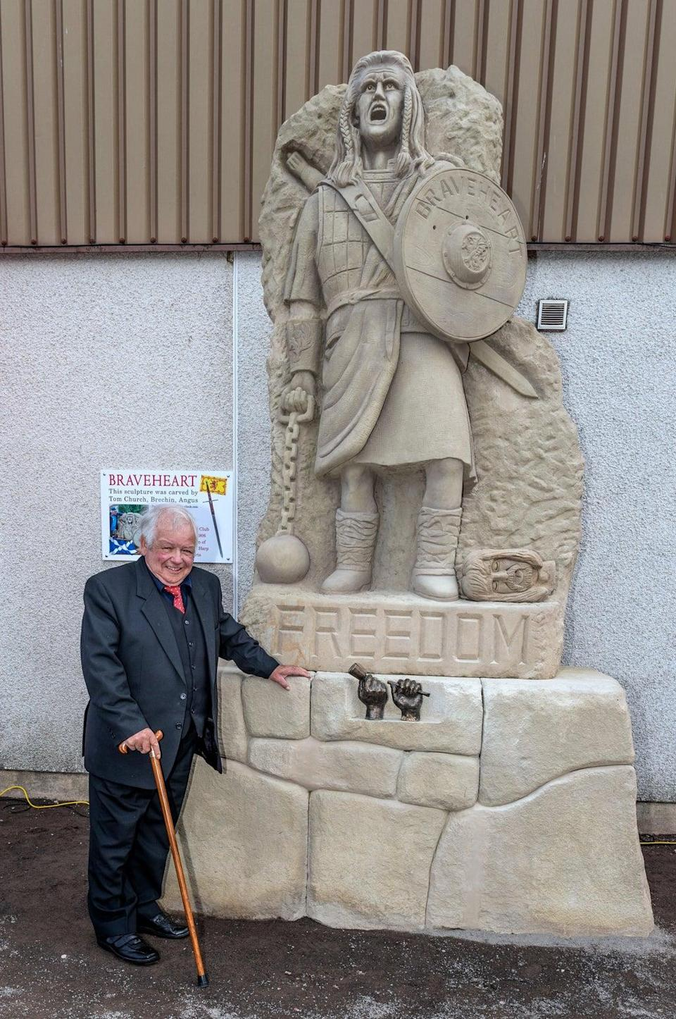 Tommy Church at the unveiling of the Braveheart Statue at Glebe Park in Brechin (Brechin City FC/PA). (PA Media)