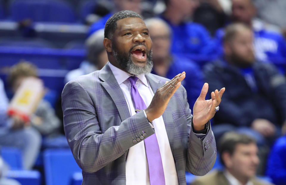 Walter McCarty the head coach of the Evansville Aces