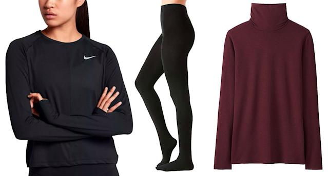 From left, base layers from Nike, Urban Outfitters, and Uniqlo. (Photos: Nike; Urban Outfitters; Uniqlo)