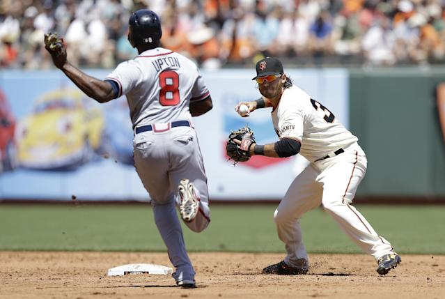 San Francisco Giants shortstop Brandon Crawford, right, throws to first base after forcing out Atlanta Braves' Justin Upton (8) at second on a double play hit into by Freddie Freeman during the third inning of a baseball game in San Francisco, Wednesday, May 14, 2014. (AP Photo)