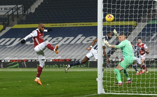 Alexandre Lacazette scores Arsenal's fourth goal at West Brom