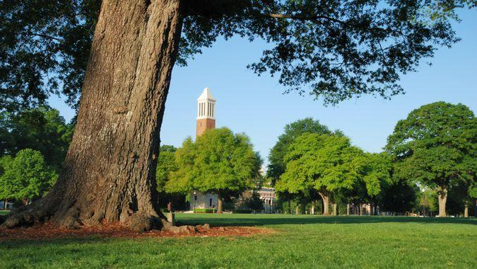 Tuscaloosa, Alabama, USA - April 16, 2008: Denny Chimes bell tower on the quad at The University of Alabama campus during the spring.