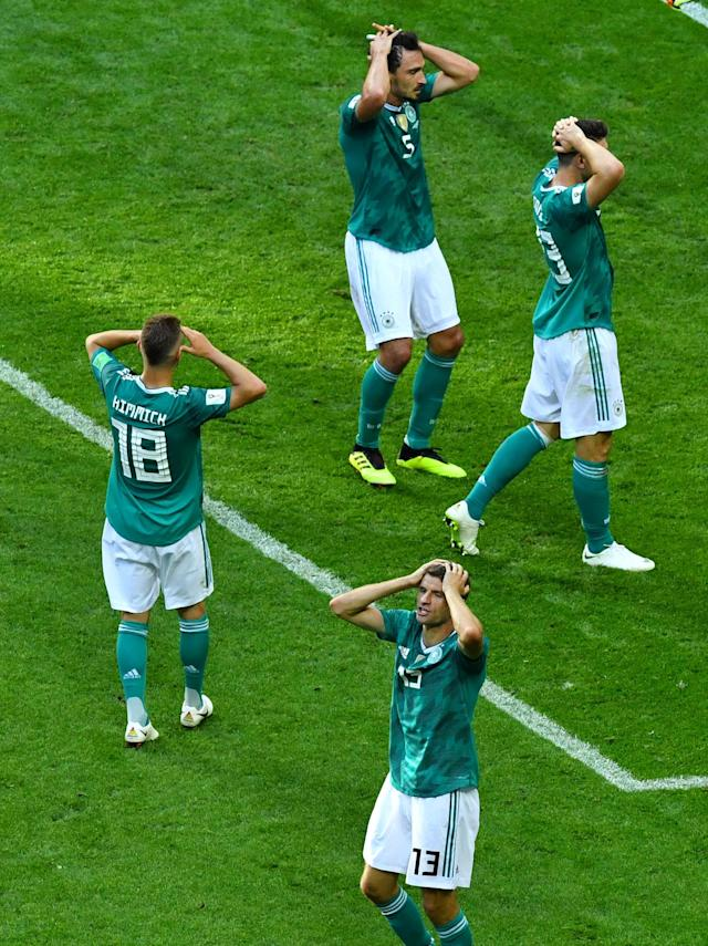 <p>Germany's Mario Gomez, Mats Hummels, Joshua Kimmich and Thomas Muller react. REUTERS/Dylan Martinez </p>