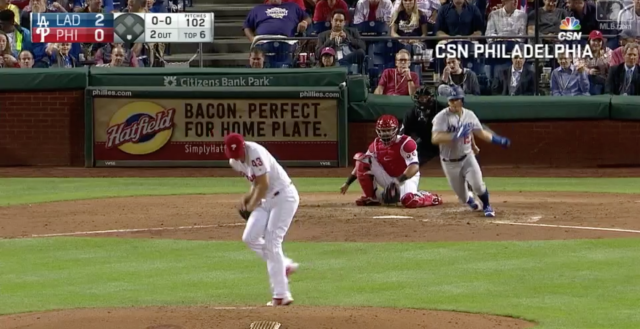 Phillies pitcher Nick Pivetta catches a comebacker with his jersey. (MLB.tv)