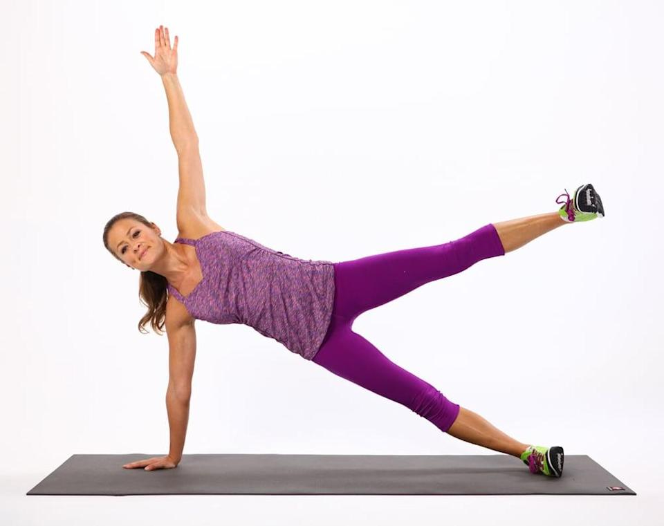 <ul> <li>Come into a side plank on your right side with your right hand underneath your right shoulder. If this bothers your wrist, rest on your elbow instead. Flex both feet, balancing on the outside edge of your right foot, and lift your left arm straight in the air, stacking your shoulders. </li> <li>Keeping your spine lengthened and your abs engaged, lift your left leg up as high as you can without letting your waist sink down toward the ground. </li> </ul>