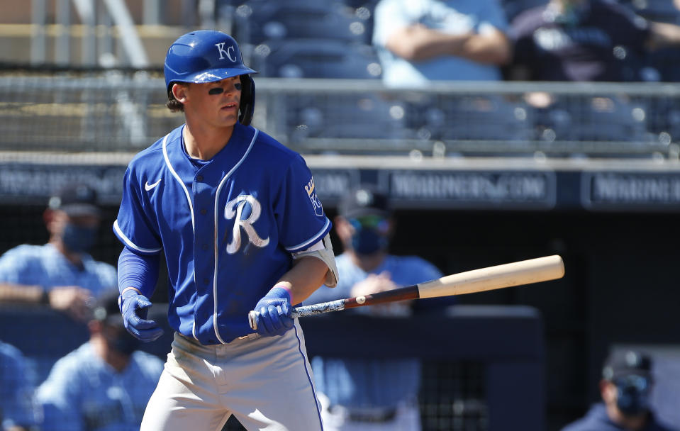 PEORIA, ARIZONA - MARCH 09: Bobby Witt Jr. #7 of the Kansas City Royals during an at bat against the Seattle Mariners in the third inning of the MLB spring training baseball game at Peoria Sports Complex on March 09, 2021 in Peoria, Arizona. (Photo by Ralph Freso/Getty Images)