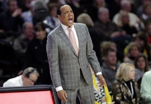 North Carolina State coach Kevin Keatts shouts to his team during the second half of an NCAA college basketball game against Wake Forest in Winston-Salem, N.C., Tuesday, Jan. 15, 2019. (AP Photo/Chuck Burton)