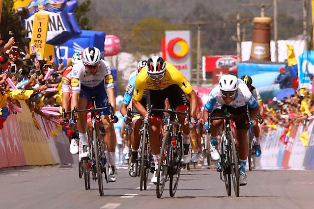 Juan Sebastian Molano (UAE Team Emirates) in the yellow points jersey at Tour Colombia 2.1