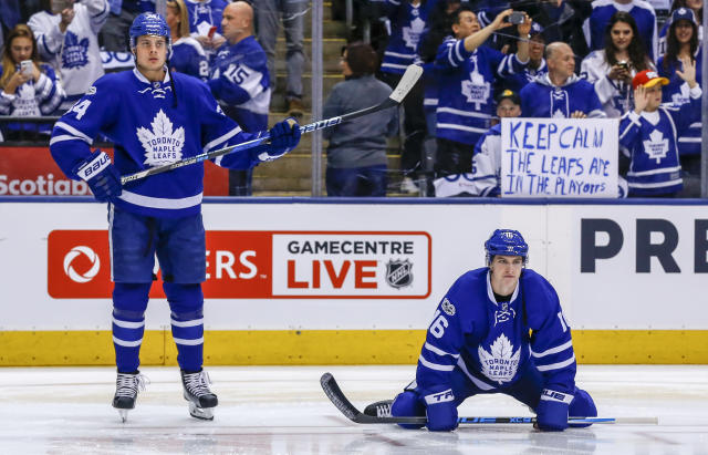 "<a class=""link rapid-noclick-resp"" href=""/nhl/players/7109/"" data-ylk=""slk:Auston Matthews"">Auston Matthews</a> and Mitch Marner will have some new threads this season. (Photo by Kevin Sousa/NHLI via Getty Images)"