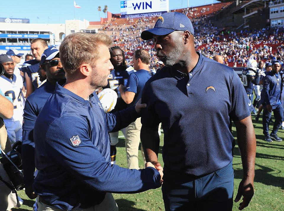 Anthony Lynn and the Chargers will one day share a home stadium in Inglewood with Sean McVay and the Rams. (Getty Images)