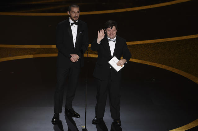 Shia LaBeouf and Zack Gottsagen present the award for best live action short film at the Oscars (Credit: AP Photo/Chris Pizzello)