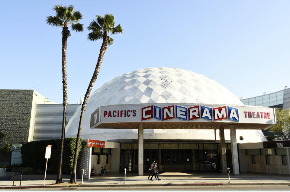 The Cinerama Dome is pictured, Tuesday, April 28, 2020, in Los Angeles. Hollywood's theatrical business may be slowly rebounding but for some exhibitors the last year has been catastrophic. Pacific Theaters, which operates some 300 screens in California, including the beloved ArcLight theaters and the historic Cinerama Dome in Hollywood, said Monday, April 12, 2021, that it will not be reopening. (AP Photo/Chris Pizzello)