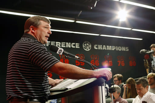 Georgia coach Kirby Smart speaks with the media during an NCAA college football news conference Tuesday, March 20, 2018, in Athens, Ga. Georgia opens spring practice Tuesday. (Joshua L. Jones/Athens Banner-Herald via AP)