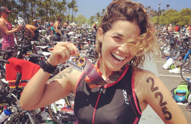America Ferrera smiles after completing her second triathlon.