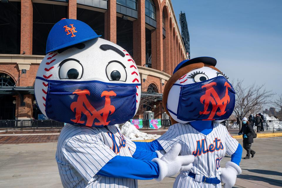 Mr. and Mrs. Met at the opening of Citi Field as a vaccination site in February.