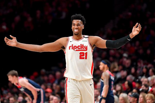"""<a class=""""link rapid-noclick-resp"""" href=""""/nba/players/4764/"""" data-ylk=""""slk:Hassan Whiteside"""">Hassan Whiteside</a> was perhaps having a career year with the Blazers. (Photo by Alika Jenner/Getty Images)"""
