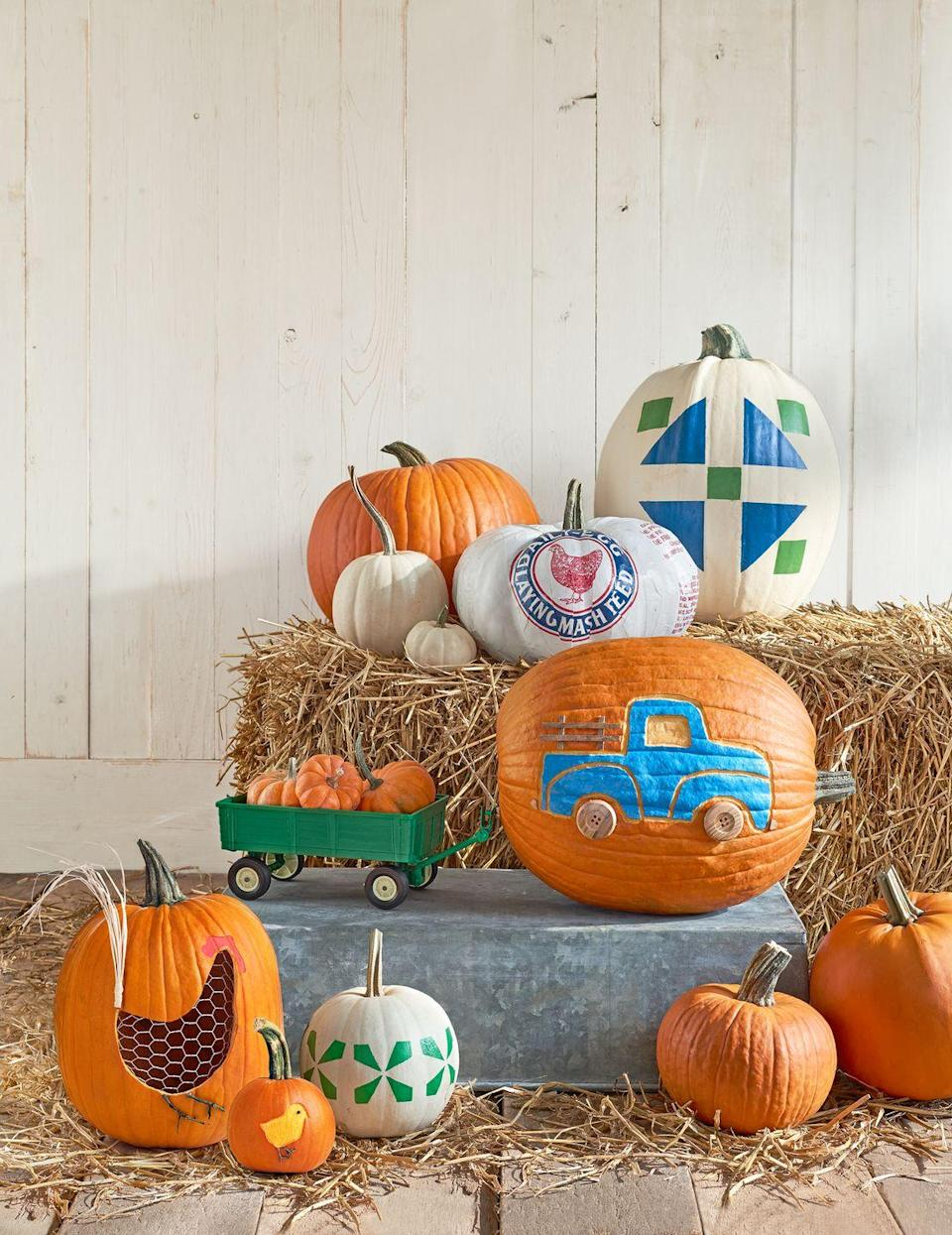 """<p>Put a smile on your little trucker's face with this sweet pumpkin design. Use wooden buttons as the wheels to make it extra special. <a href=""""http://clv.h-cdn.co/assets/downloads/1472485017_-_pumpkintemplates.pdf"""" rel=""""nofollow noopener"""" target=""""_blank"""" data-ylk=""""slk:Click here for the template"""" class=""""link rapid-noclick-resp"""">Click here for the template</a>. </p>"""