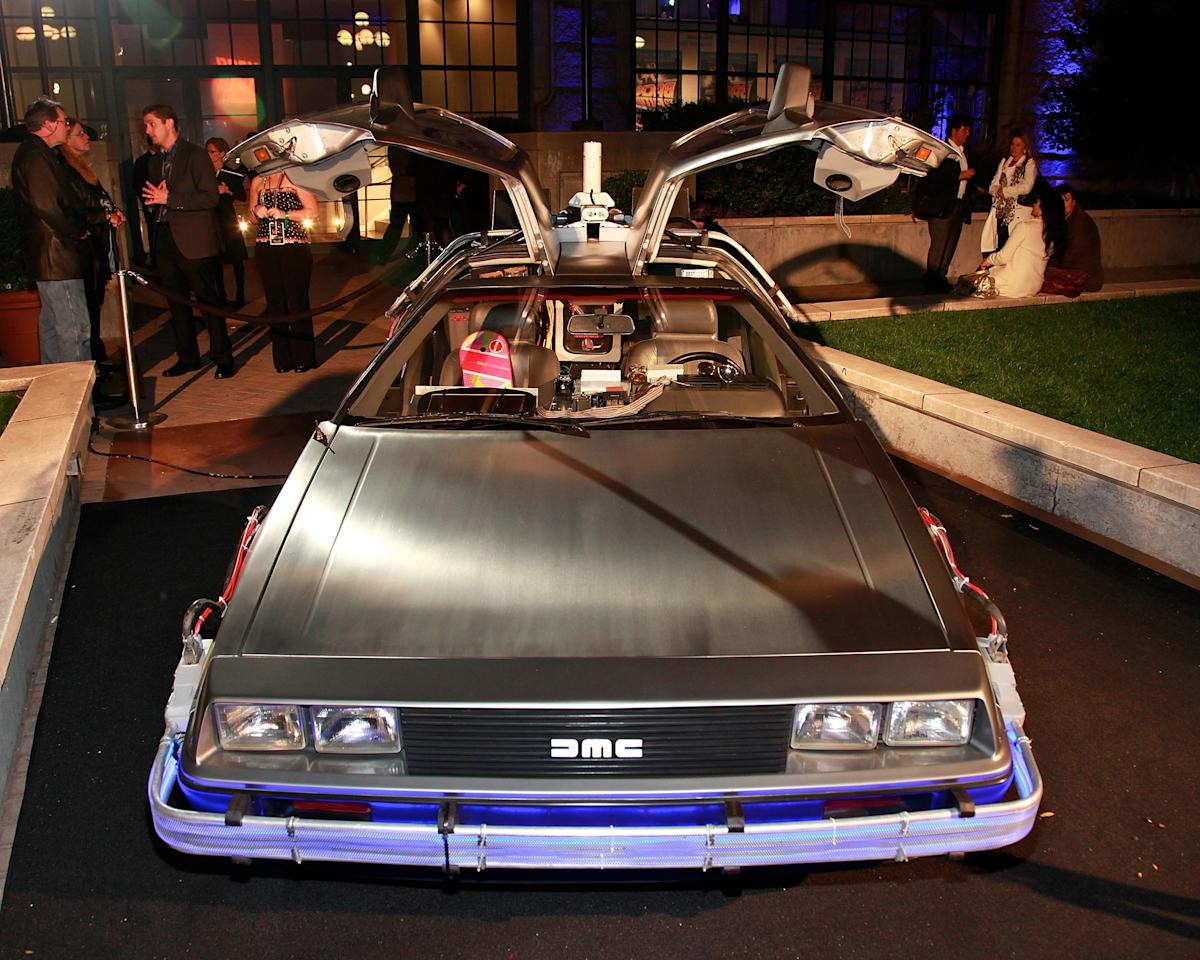 """The retrofitted DeLorean DMC-12 at the """"Back To The Future"""" 25th anniversary Trilogy Blu-Ray release celebration at Gustavino's on October 25, 2010 in New York City."""