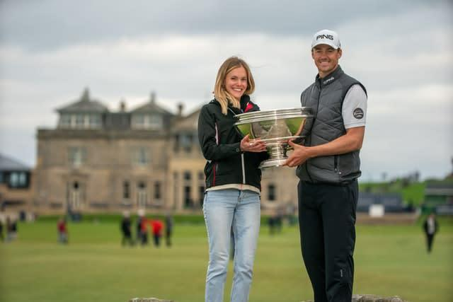 Victor Perez with his girlfriend Abigail following his win in the Alfred Dunhill Links Championship (Kenny Smith/PA)
