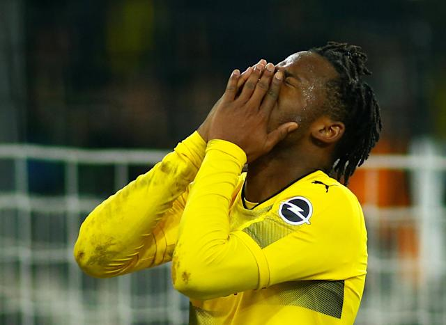 Soccer Football - Bundesliga - Borussia Moenchengladbach vs Borussia Dortmund - Borussia-Park, Moenchengladbach, Germany - February 18, 2018 Borussia Dortmund's Michy Batshuayi reacts after a missed chance REUTERS/Thilo Schmuelgen DFL RULES TO LIMIT THE ONLINE USAGE DURING MATCH TIME TO 15 PICTURES PER GAME. IMAGE SEQUENCES TO SIMULATE VIDEO IS NOT ALLOWED AT ANY TIME. FOR FURTHER QUERIES PLEASE CONTACT DFL DIRECTLY AT + 49 69 650050