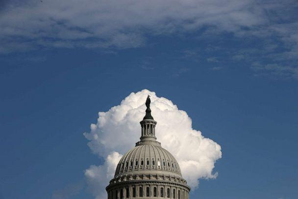 A cloud rises behind the U.S. Capitol on Aug. 13, 2021 in Washington. (Chip Somodevilla/Getty Images)