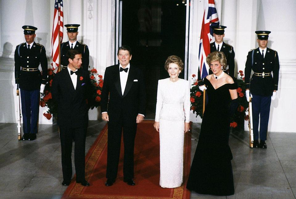 <p>Princess Diana and Prince Charles visited the Reagans at the White House. This gala dinner would become famous, as it is where Diana shared a dance with movie star, John Travolta. </p>