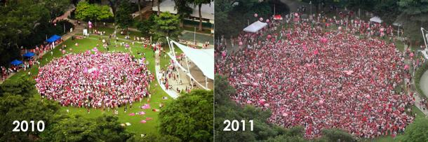 This year's Pink Dot was more than twice the size of last year's, with 10,000 participants as compared to 4,000 in 2010. (Photos: Pink Dot)