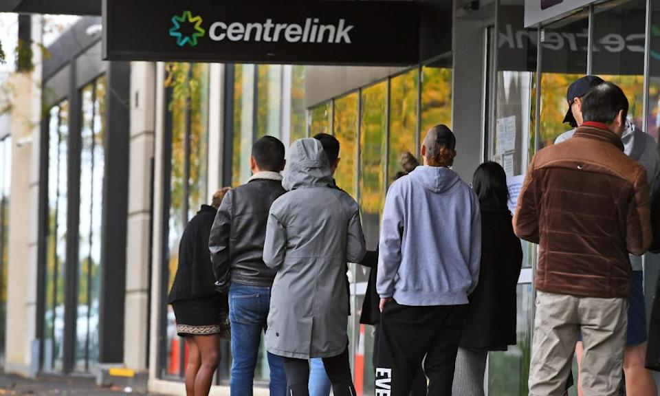 Queues outside a Melbourne Centrelink office during the pandemic