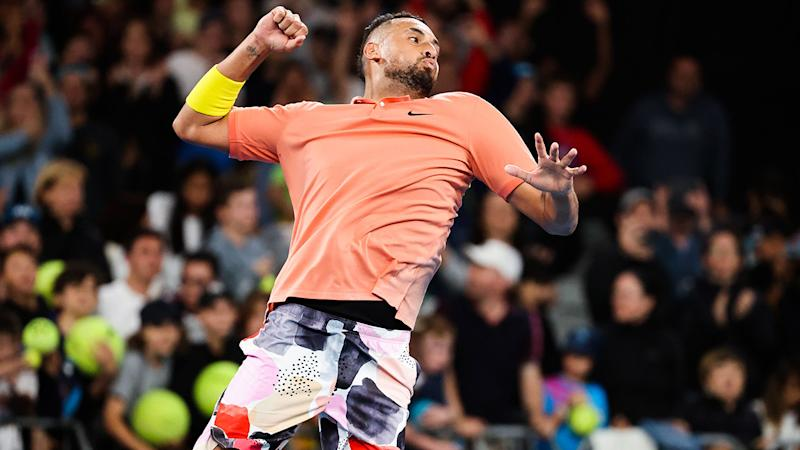 Nick Kyrgios, pictured here celebrating his victory over Gilles Simon at the Australian Open.