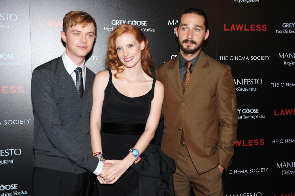 """Dane DeHaan, Jessica Chastain and Shia LaBeouf at the New York Cinema Society screening of 'Lawless"""" on August 13, 2012."""