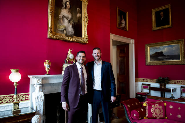 WASHINGTON, DC - MAY 9: Nathan Eovaldi #17 and Chris Sale #41 of the Boston Red Sox pose as they take a tour during a visit to the White House in recognition of the 2018 World Series championship on May 9, 2019 in Washington, DC. (Photo by Billie Weiss/Boston Red Sox/Getty Images)