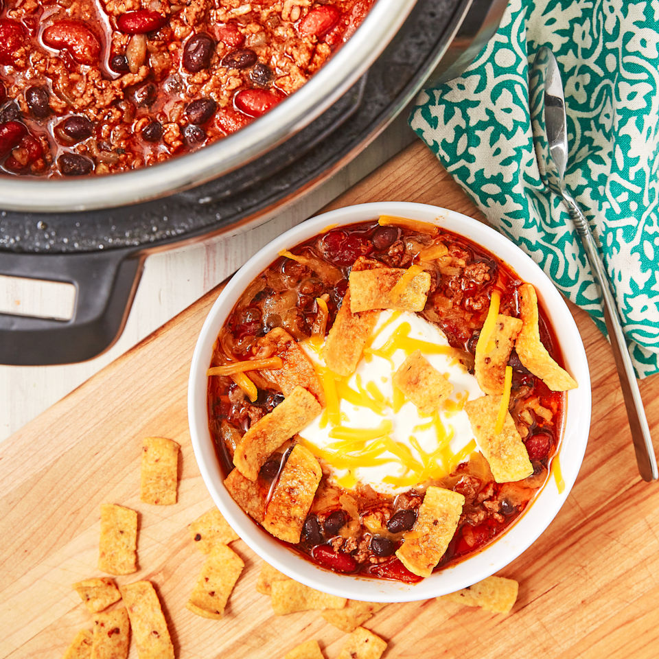 """<p>If there's one thing the Instant Pot does well, it's chilli. The pot takes away all of the legwork of standing and stirring over the stove for forever. This is now our favourite Chilli Recipe. It's so flavourful! </p><p>Get the <a href=""""https://www.delish.com/uk/cooking/recipes/a30208142/instant-pot-chili-recipe/"""" rel=""""nofollow noopener"""" target=""""_blank"""" data-ylk=""""slk:Instant Pot Chilli"""" class=""""link rapid-noclick-resp"""">Instant Pot Chilli</a> recipe. </p>"""