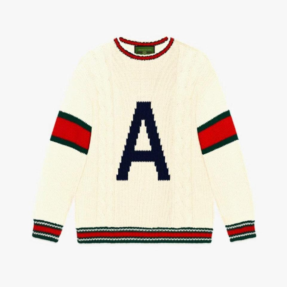 "$1700, GUCCI. <a href=""https://www.gucci.com/us/en/pr/diy/knitwear-diy/diy-unisex-wool-sweater-p-537540X16499506/a"" rel=""nofollow noopener"" target=""_blank"" data-ylk=""slk:Get it now!"" class=""link rapid-noclick-resp"">Get it now!</a>"