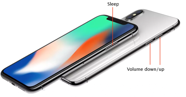 The Sleep and Volume keys have additional functions on the iPhone X.