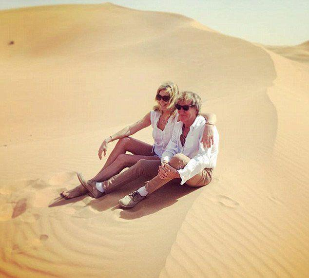 Penny Lancaster also posted a snapshot of herself and Rod in the dunes to social media. Source: Instagram