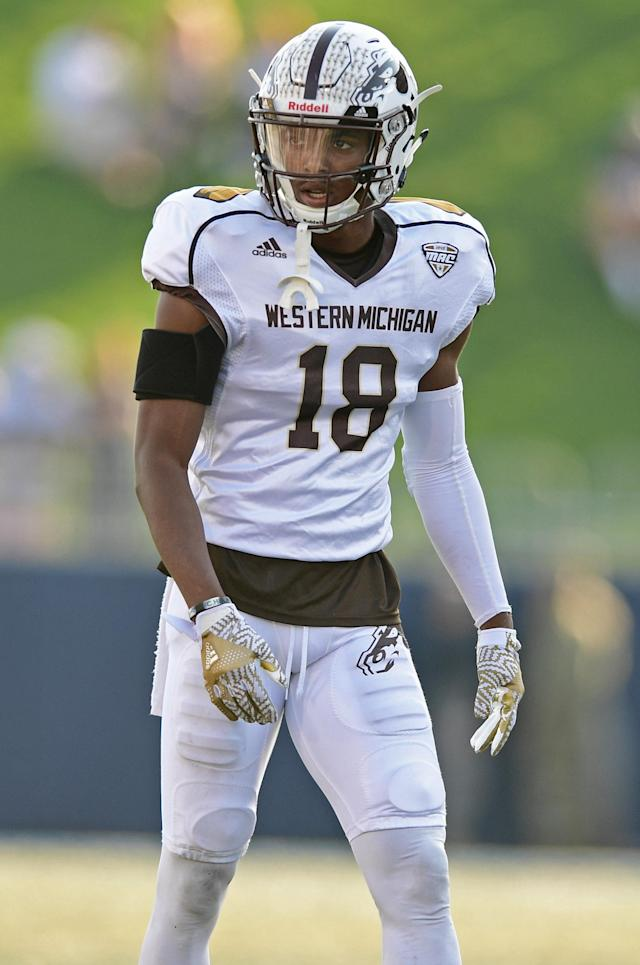 Western Michigan defensive back Sam Beal looks to the sideline in the second quarter of an NCAA college football game against Akron on Saturday, Oct. 15, 2016, in Akron, Ohio. Western Michigan won 41-0. (AP Photo/David Dermer)